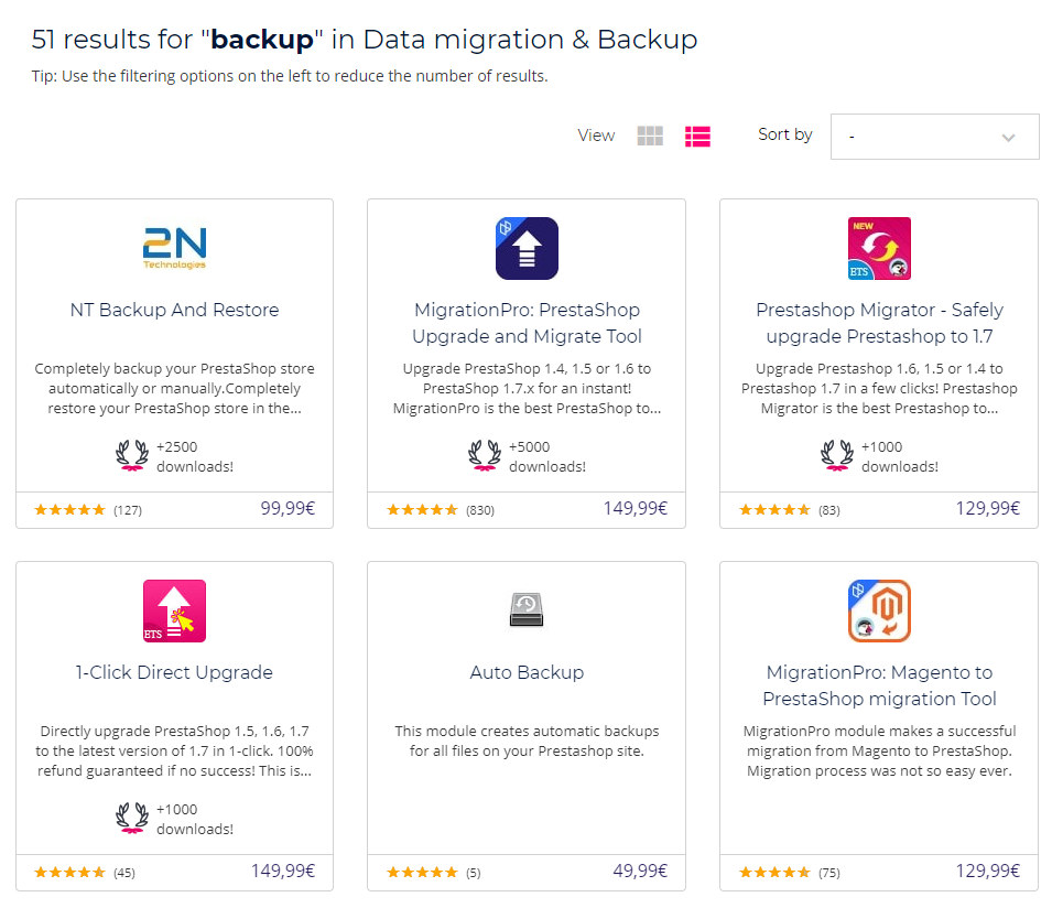 Back up modules Addons PrestaShop