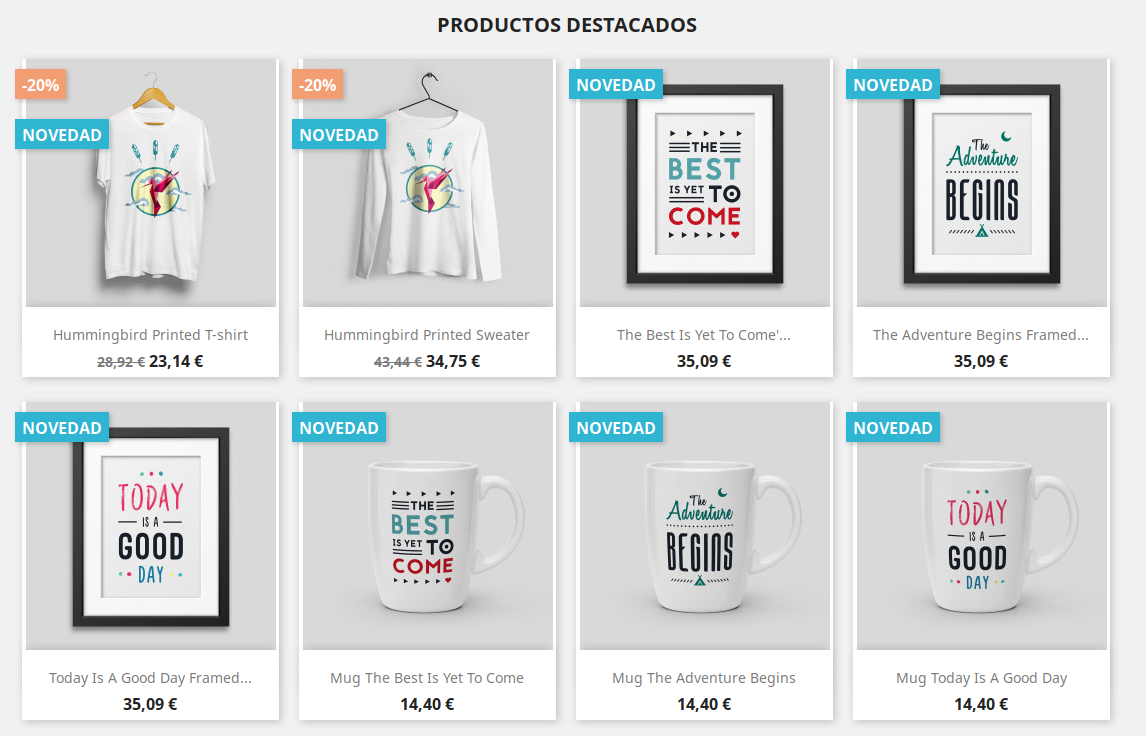 Demo Productos PrestaShop 1.7