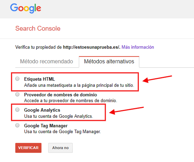search console 03 metodos verificacion
